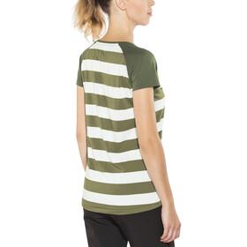 Bergans W's Filtvet Tee White/Khaki Green Striped/Seaweed